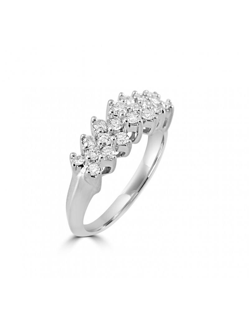1/2Ct Multi Row Diamond 14K White Gold Wedding Anniversary Intended For Most Recently Released Diamond Multi Row Anniversary Ring In White Gold (View 2 of 25)