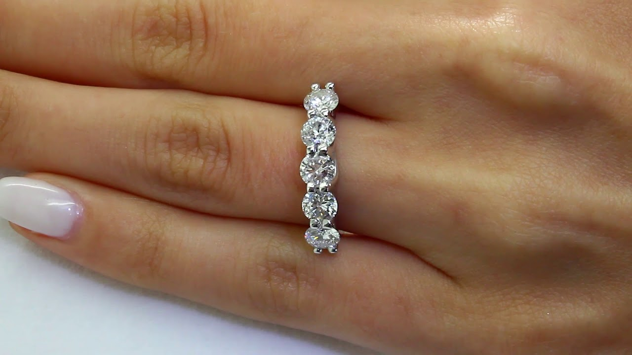1 3/4 Ctw Round Diamond 5 Stone Wedding Anniversary Band Ring In 14K White  Gold (Md160393) In Most Up To Date Diamond Layered Anniversary Ring In White Gold (View 1 of 25)