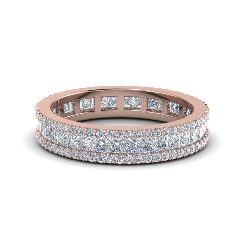 Featured Photo of Diamond Three Row Anniversary Bands In Rose Gold