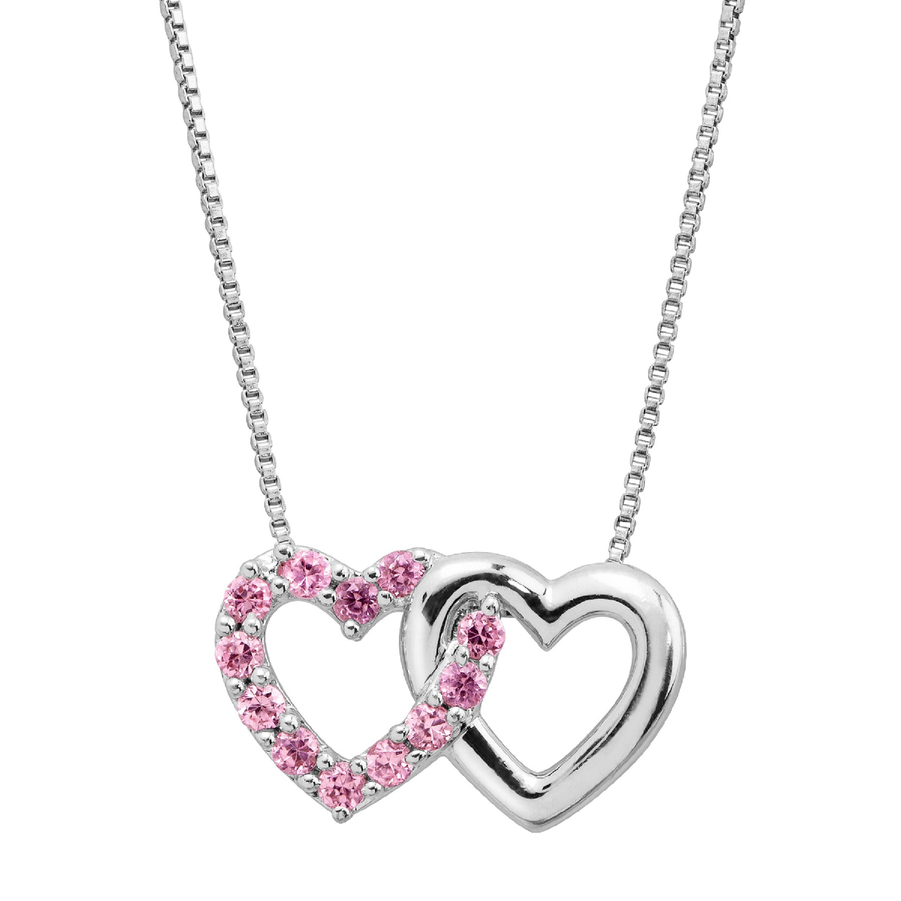 1/4 Ct Created Pink Sapphire Joint Hearts Pendant In Sterling Silver Intended For Latest Joined Hearts Chain Necklaces (View 10 of 25)