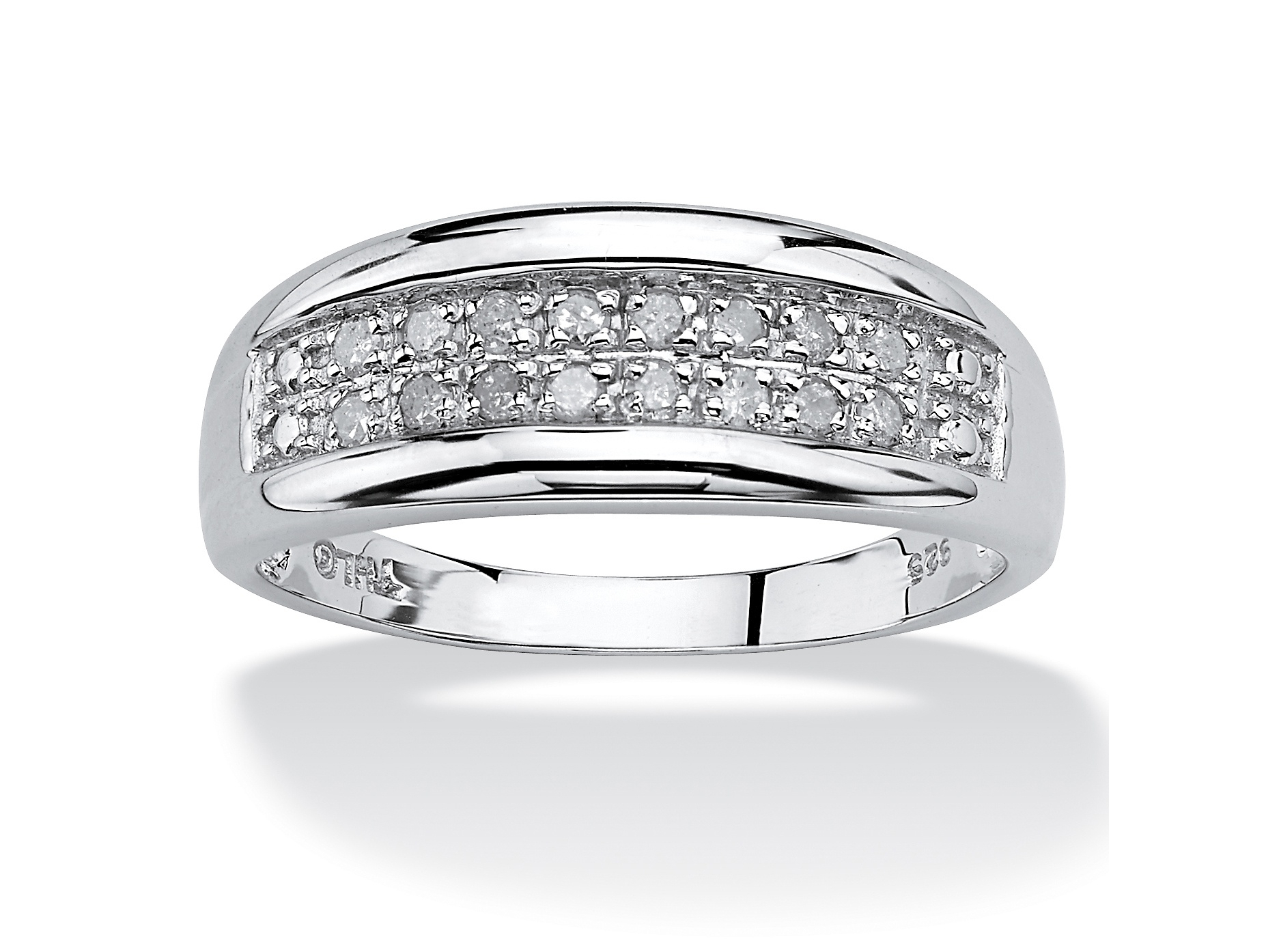 1/4 Tcw Round Diamond Platinum Over Sterling Silver Channel Set Double Row  Anniversary Wedding Ring With Regard To Recent Diamond Two Row Anniversary Bands In Sterling Silver (View 3 of 25)