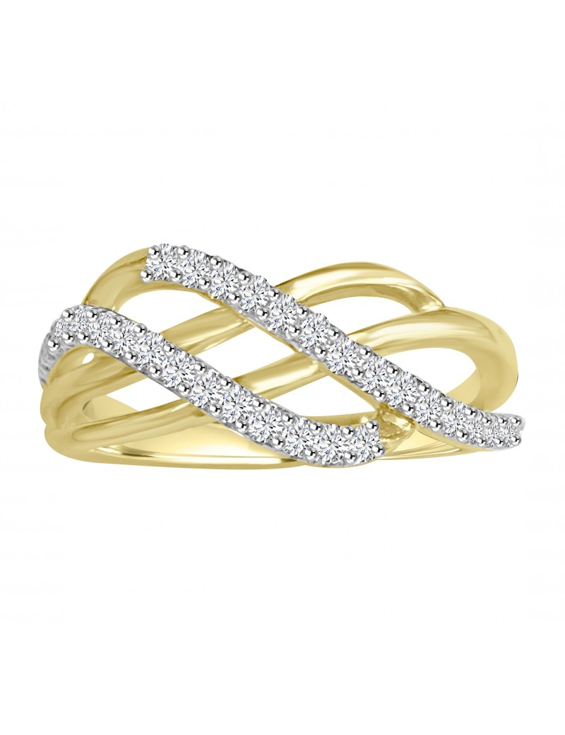 1/4Ct 2 Row Round Diamond 10K Yellow Gold Wavy Band Throughout 2019 Diamond Two Row Anniversary Rings In Gold (View 3 of 25)