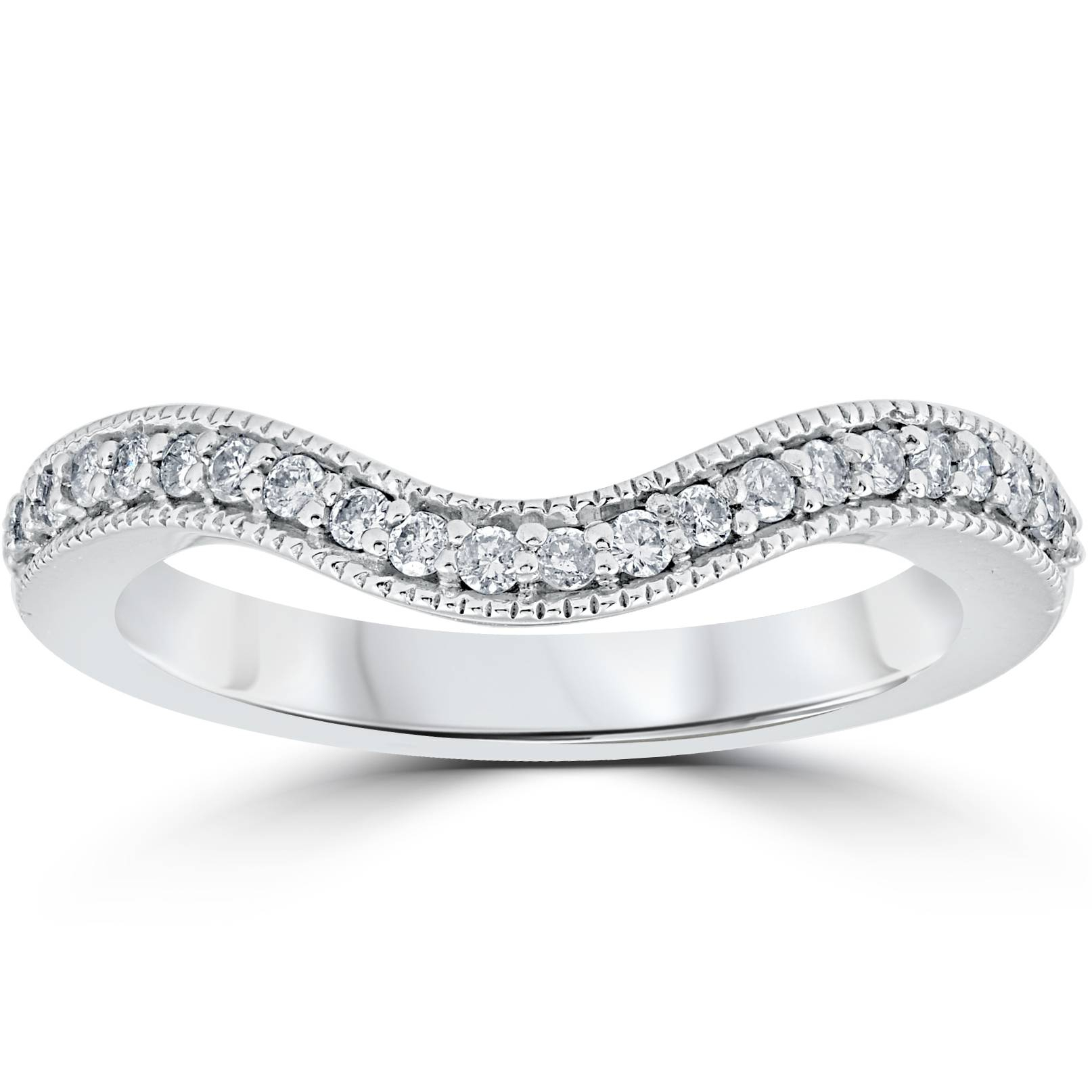 1/5ct Curved Diamond Wedding Guard Enhanced Engagement Band 14k White Gold With Regard To Most Up To Date Enhanced Black And White Diamond Anniversary Ring In White Gold (View 11 of 25)