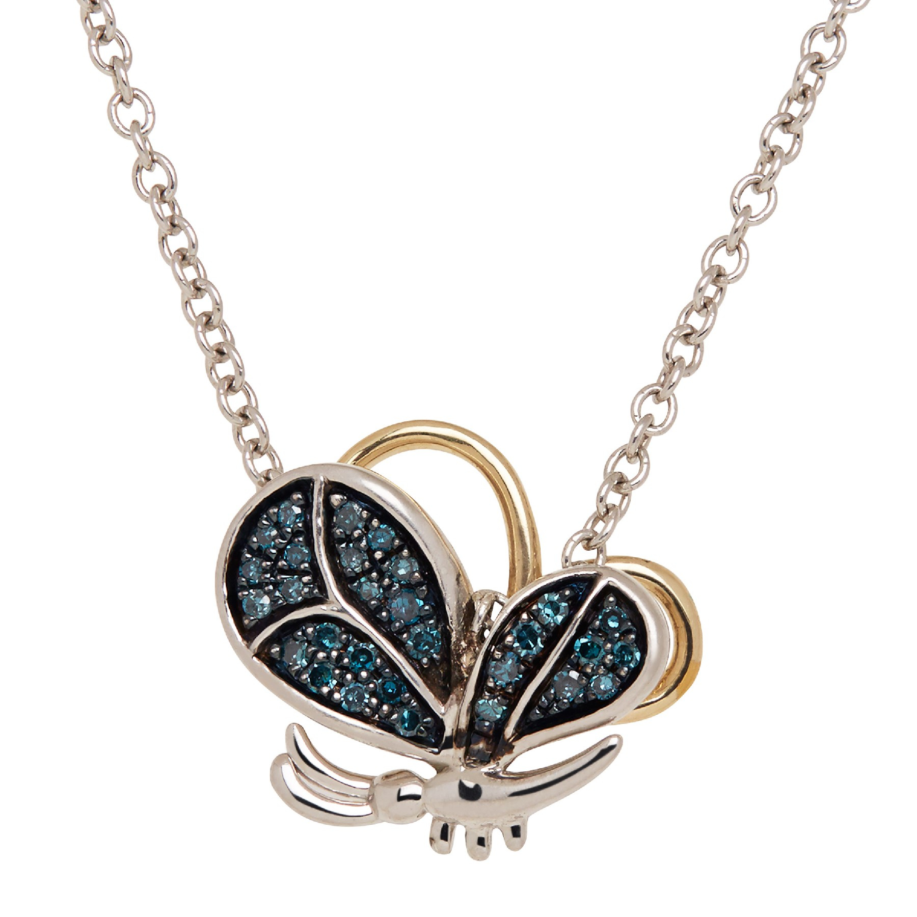 1/8 Ct Blue Diamond Butterfly Pendant In Sterling Silver & 14K Gold Pertaining To Most Up To Date Sparkling Butterfly Y  Necklaces (View 1 of 25)
