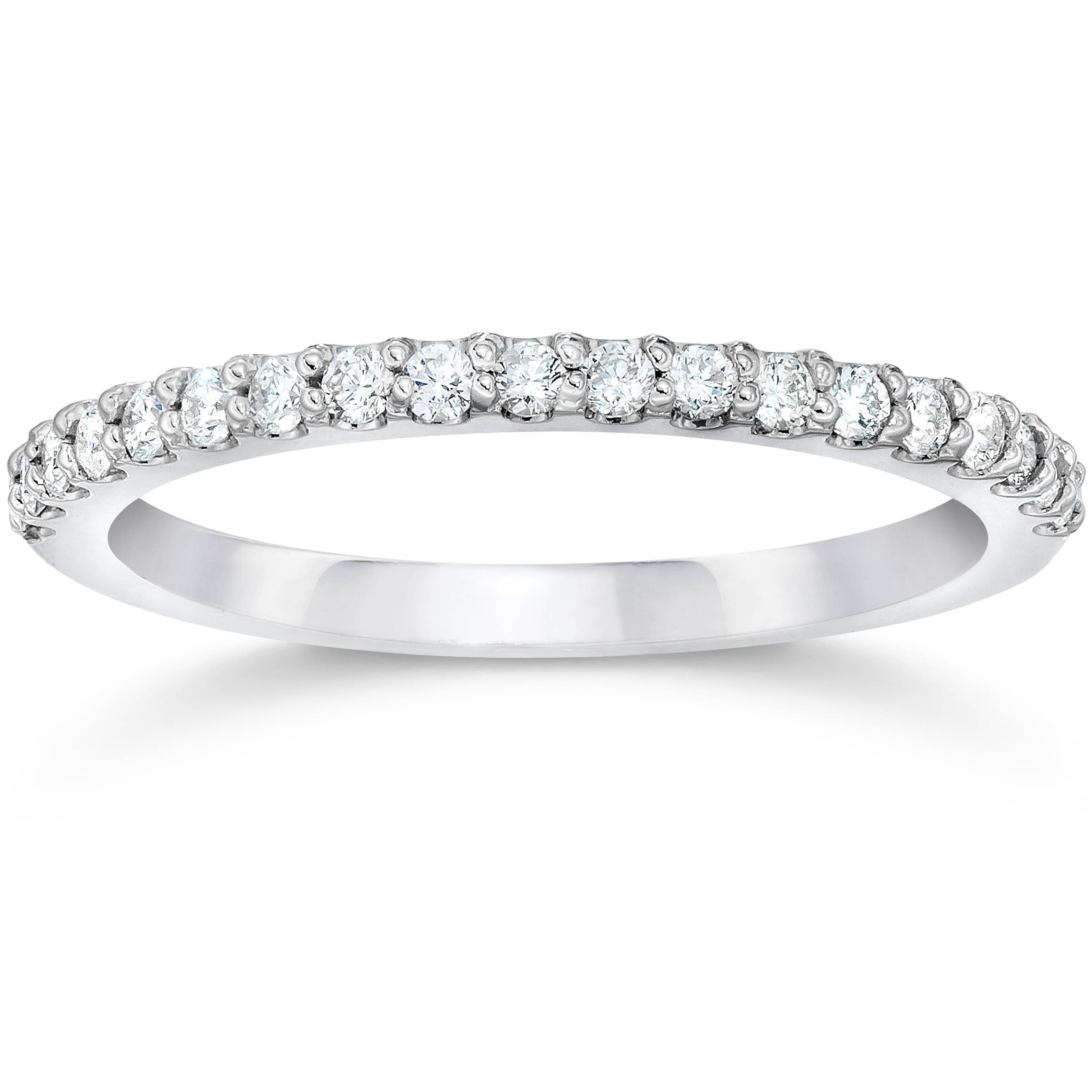 1/8ct 14k White Gold Diamond Engagement Band Wedding Stackable Prong Womens Ring Within Recent Diamond Multi Triangle Anniversary Rings In White Gold (View 17 of 25)