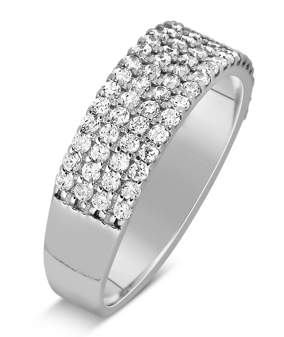 1 Carat 4 Row Diamond Wedding Ring Band For Her In White Gold For Latest Diamond Five Row Anniversary Rings In White Gold (View 1 of 25)
