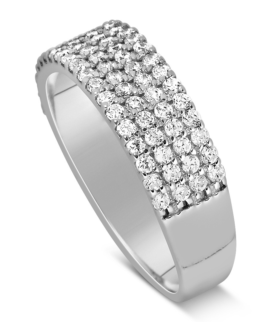 1 Carat 4 Row Diamond Wedding Ring Band For Her In White Gold Pertaining To Most Recent Diamond Four Row Anniversary Bands In White Gold (View 18 of 25)