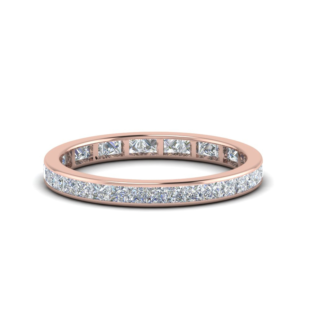1 Carat Princess Cut Channel Eternity Band Within Best And Newest Diamond Channel Anniversary Bands In Gold (View 1 of 25)