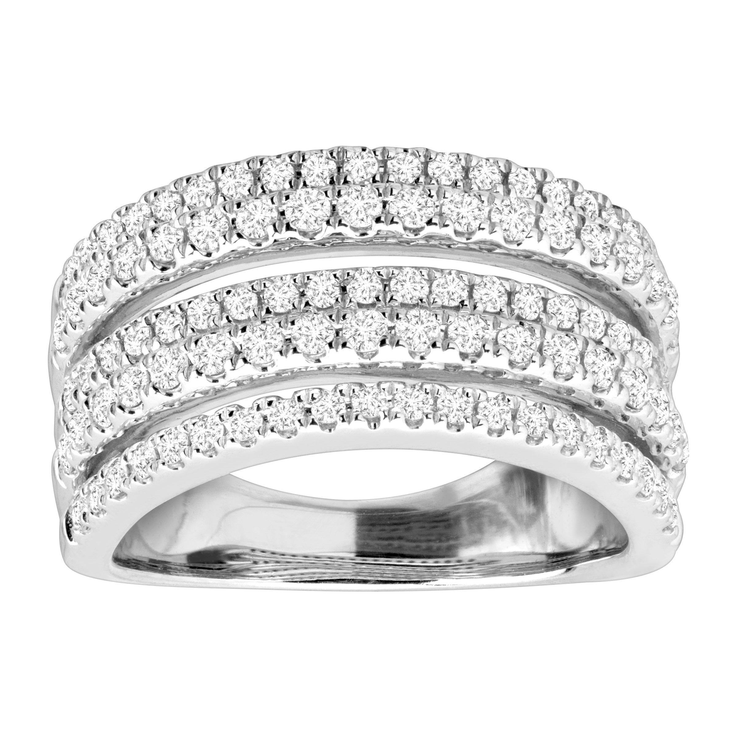 1 Ct Diamond Multi Band Anniversary Ring In 10k White Gold With Regard To Most Recently Released Baguette And Round Diamond Multi Row Anniversary Ring In White Gold (View 11 of 25)