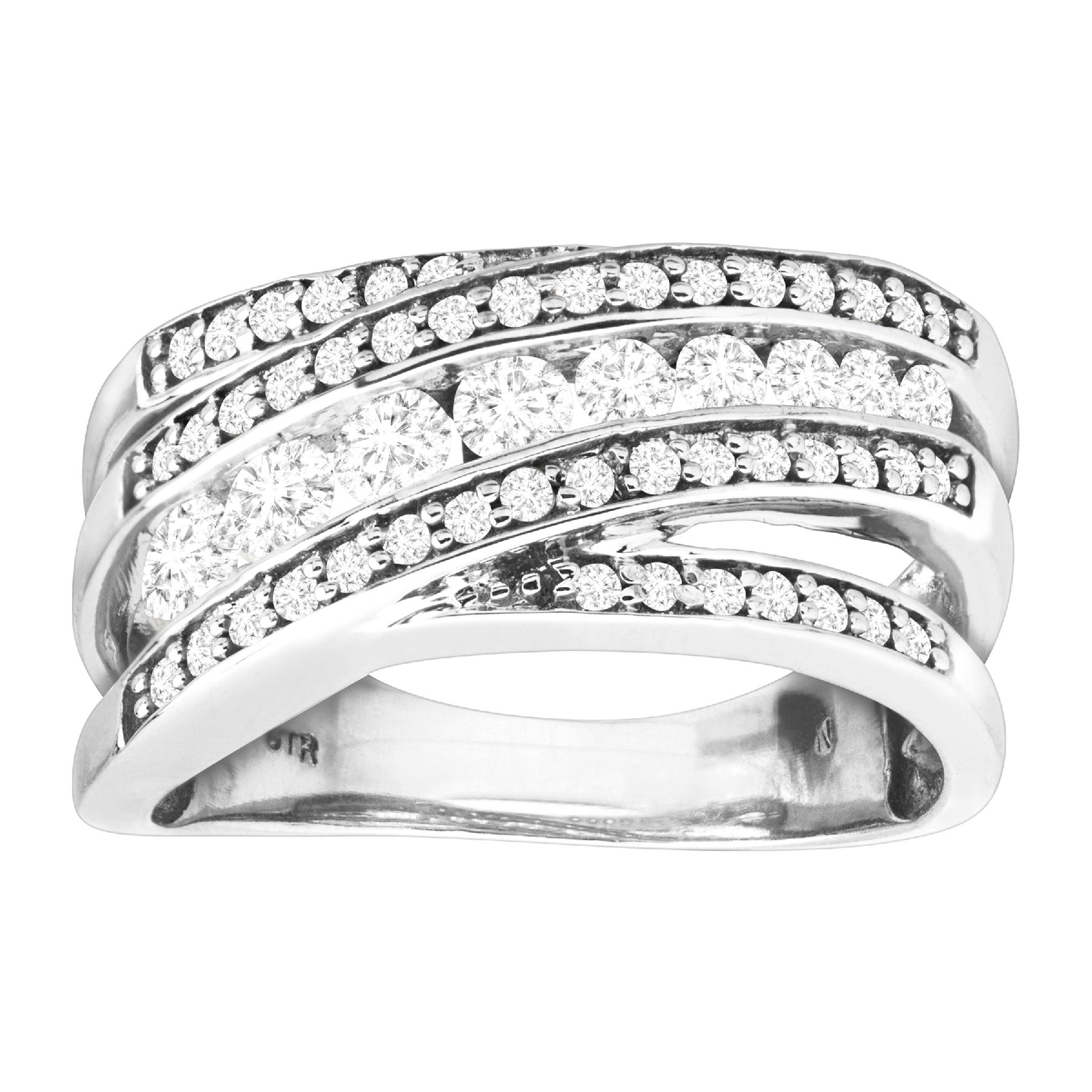 1 Ct Diamond Overlapping Band Anniversary Ring In 10K White Gold Within 2019 Certified Diamond Anniversary Bands In White Gold (View 18 of 25)