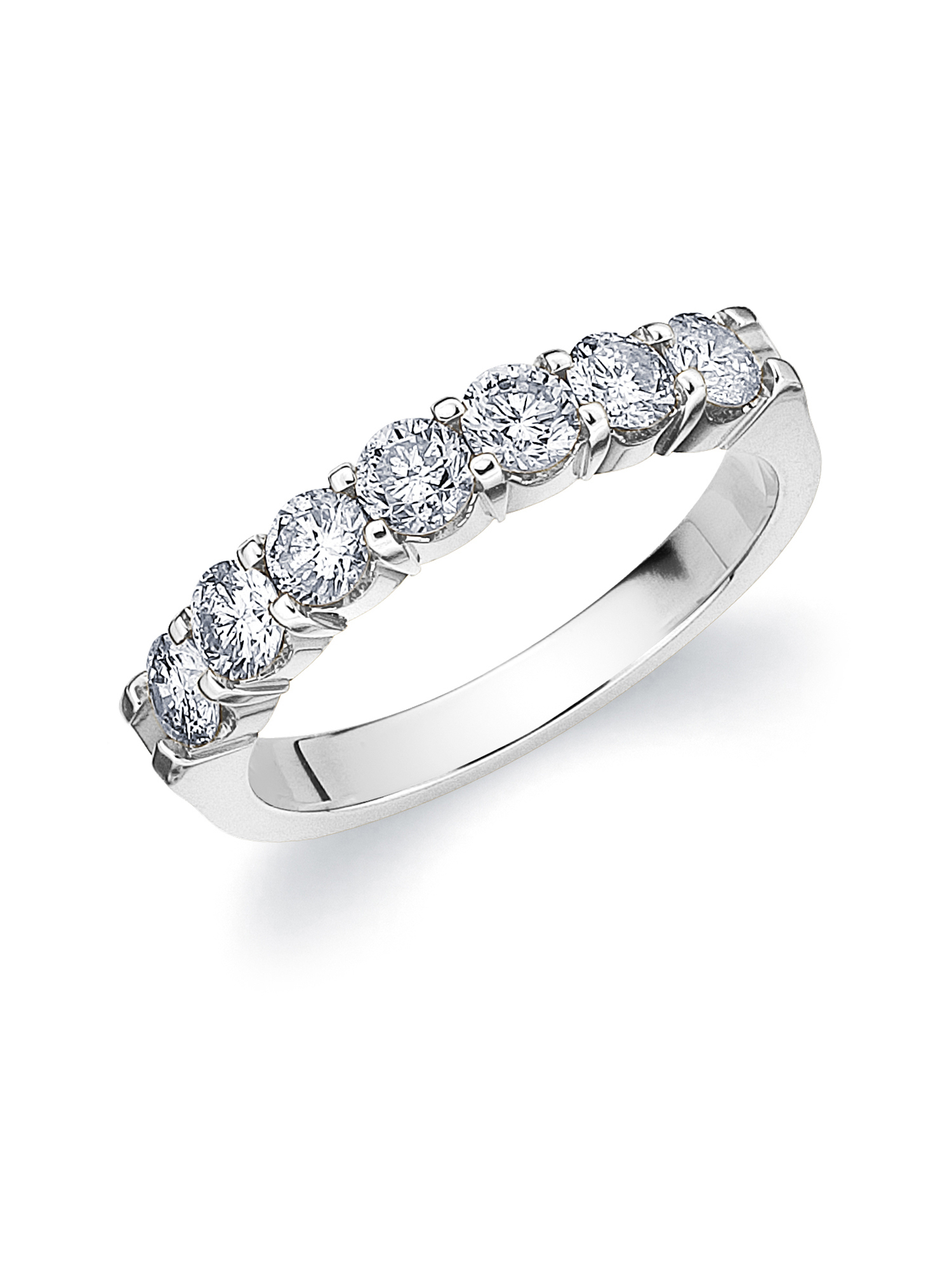 1 Ct Diamond Seven Stones Wedding Band, White Gold Diamond Anniversary Ring With Newest Diamond Seven Stone Anniversary Bands In White Gold (View 2 of 25)