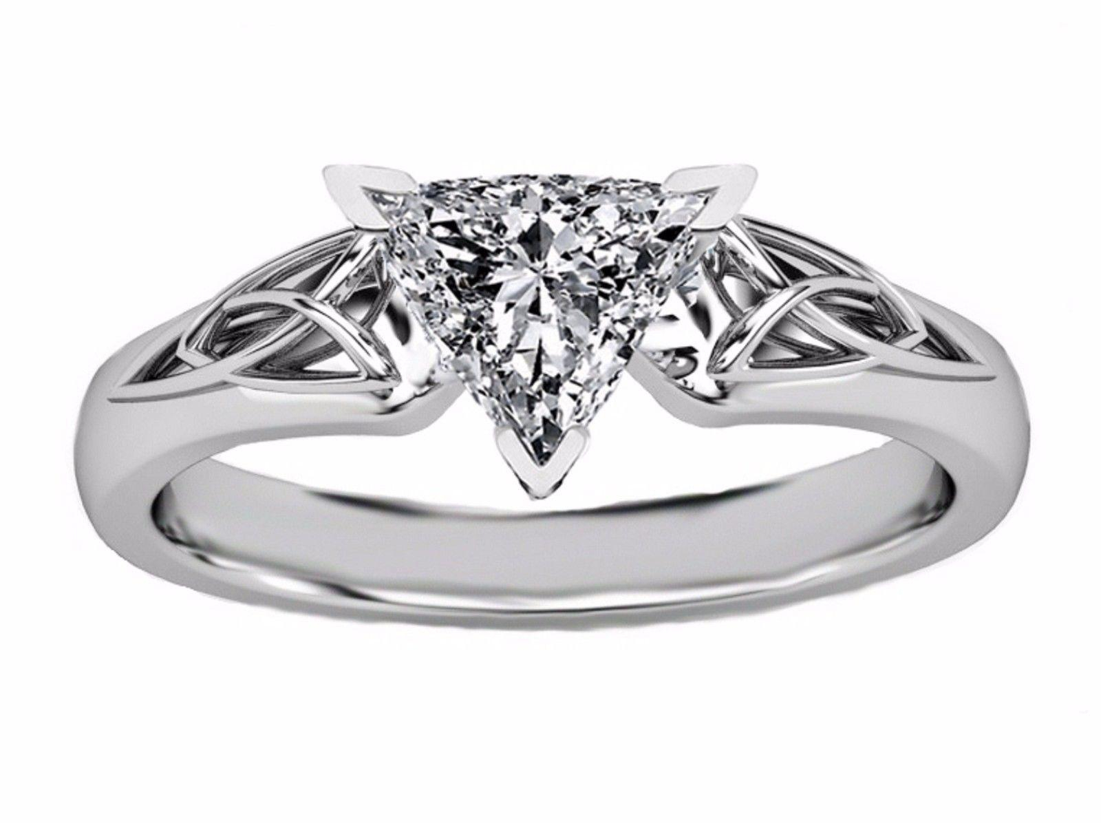 1 Diamond Trillion Cut Engagement Ring Elegant Party Real Solid 14K White  Gold Size 6 7 8 9 10 Inside Newest Celebration Ideal 1Diamond Five Stone Anniversary Bands In White Gold (View 1 of 25)
