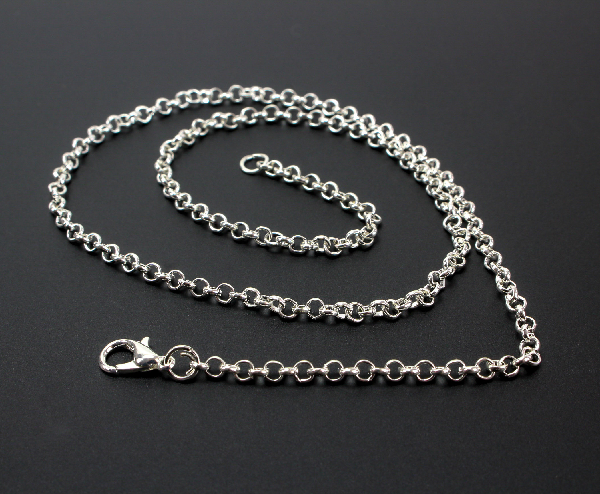 "1 Silver Plated Link Cable Chain Necklace 18"" Long With Lobster Claw Clasp – One Piece For Newest Long Link Cable Chain Necklaces (View 3 of 25)"