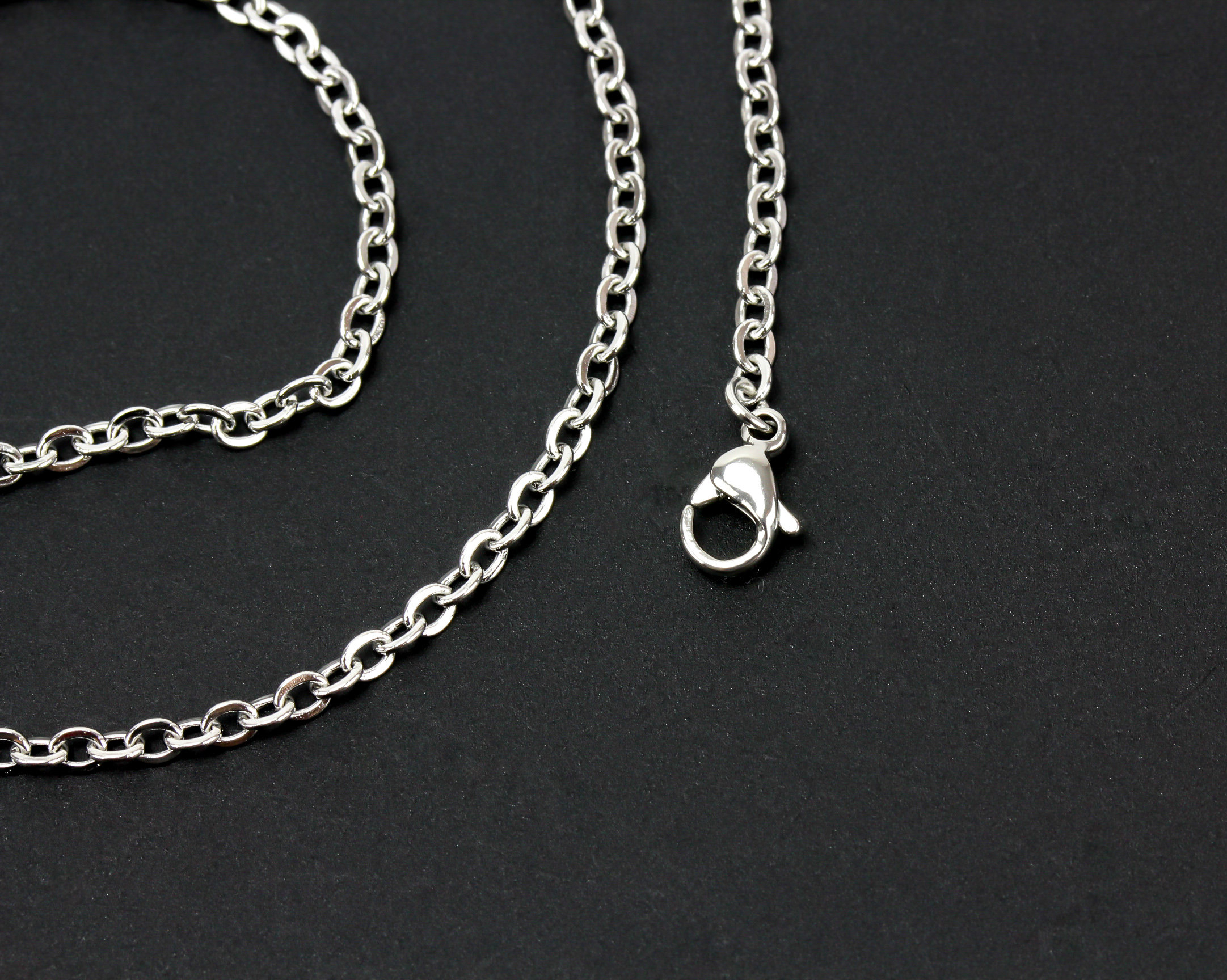 """1 Stainless Steel Link Cable Chain Necklace 45Cm (17 5/8"""") Long With  Lobster Claw Clasp Chain Link Size 3X (View 2 of 25)"""