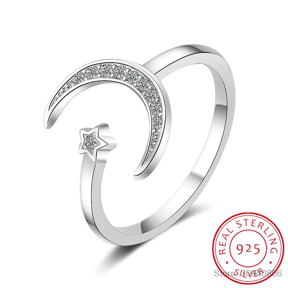100% 925 Solid Real Sterling Silver Fine Jewelry Moon Star Cz Inside Current Sparkling Butterfly Open Rings (View 1 of 25)