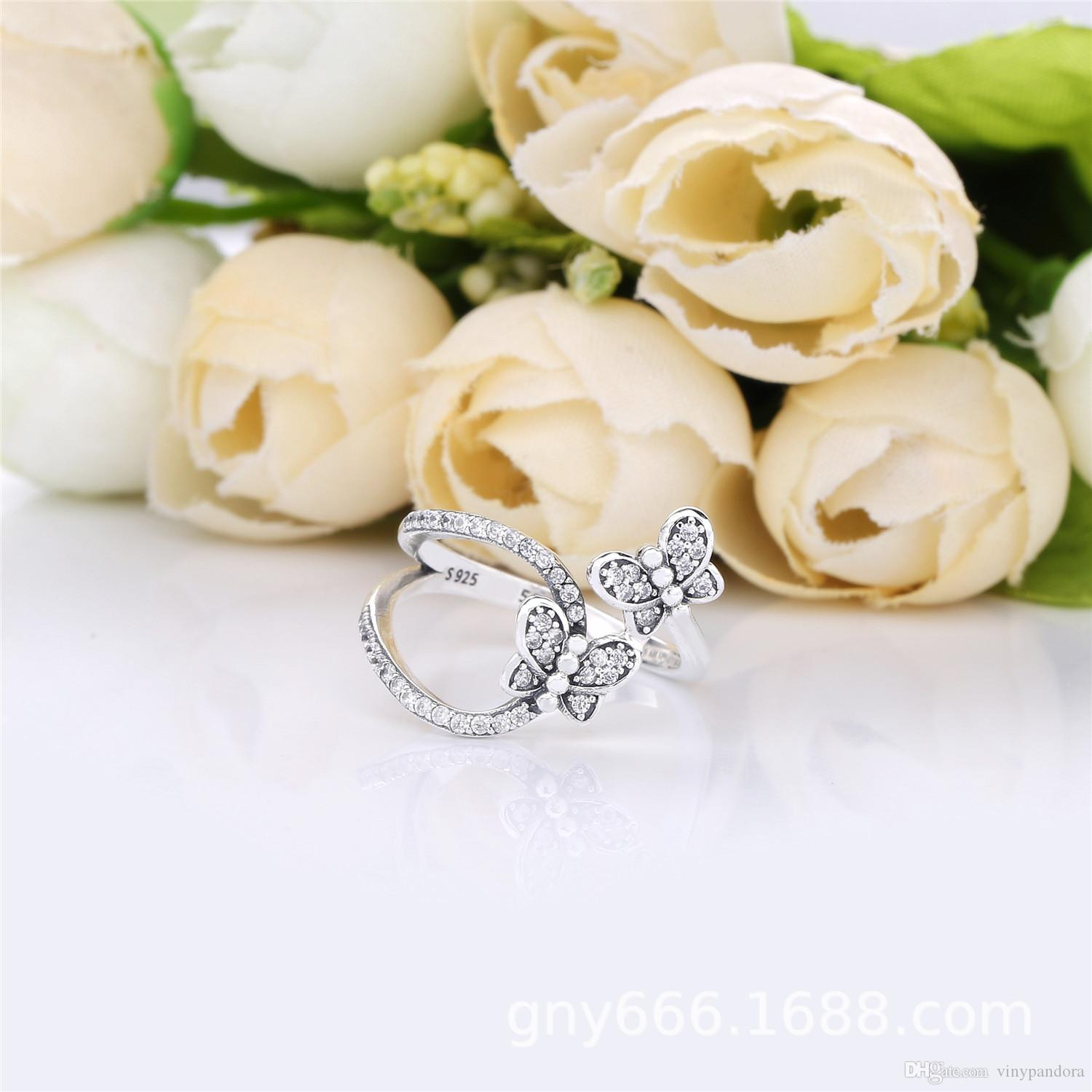 100% 925 Sterling Silver Bedazzling Butterflies Ring Fit Pandora Jewelry  Engagement Wedding Lovers Fashion Ring Pertaining To Newest Sparkling Butterfly Open Rings (Gallery 11 of 25)
