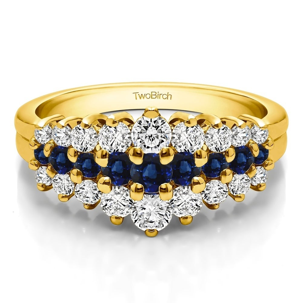 10K Gold Domed Three Row Shared Prong Anniversary Ring With Genuine  Sapphire & Diamonds (0.49 Cts (View 5 of 25)