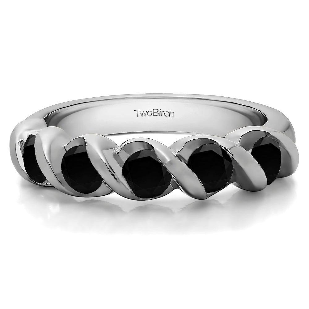 10K Gold Five Stone Swirl Set Wedding Band With Black Diamonds (0.75 Cts (View 3 of 25)