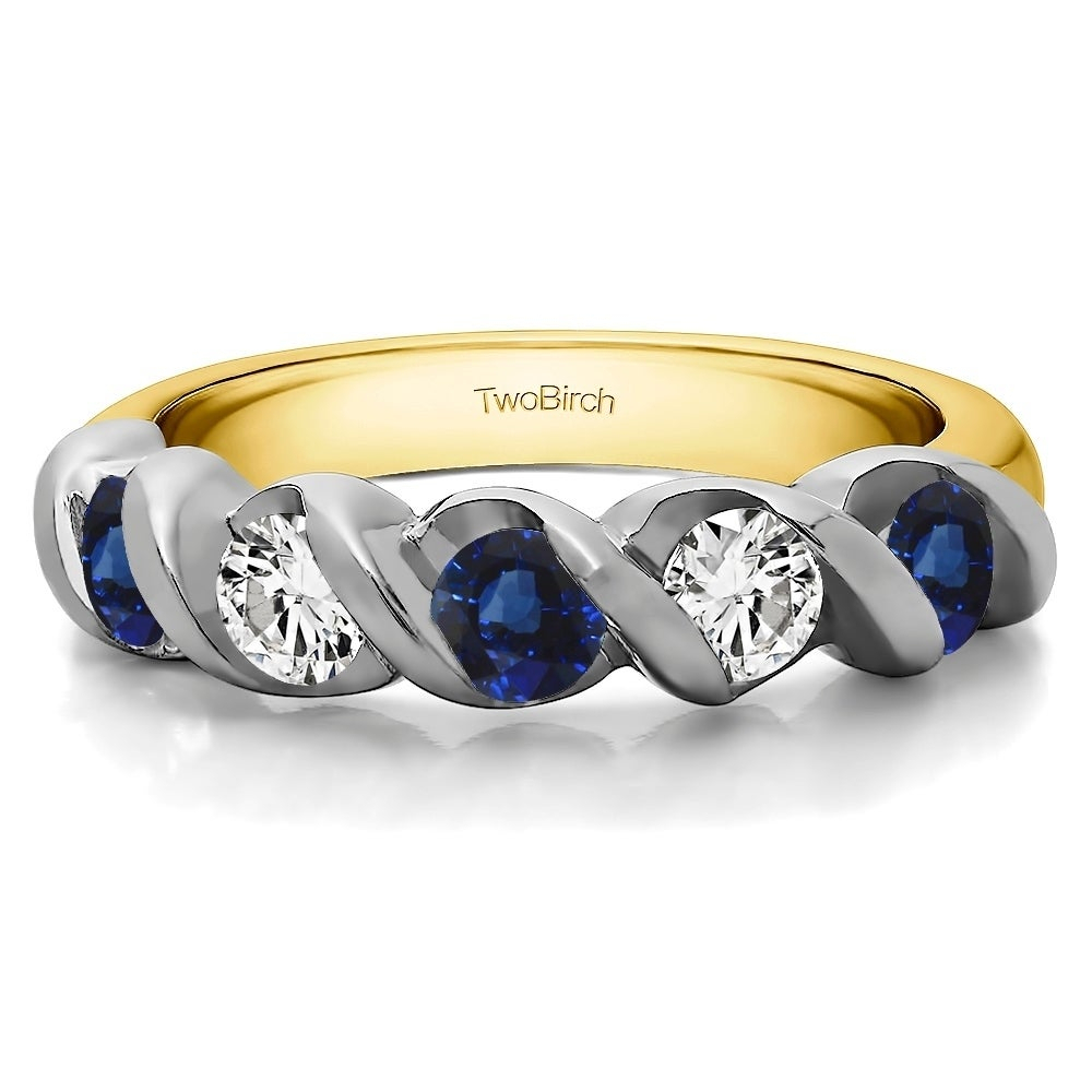 10k Gold Five Stone Swirl Set Wedding Ring With Genuine Sapphire & Diamonds (0.75 Cts (View 5 of 25)