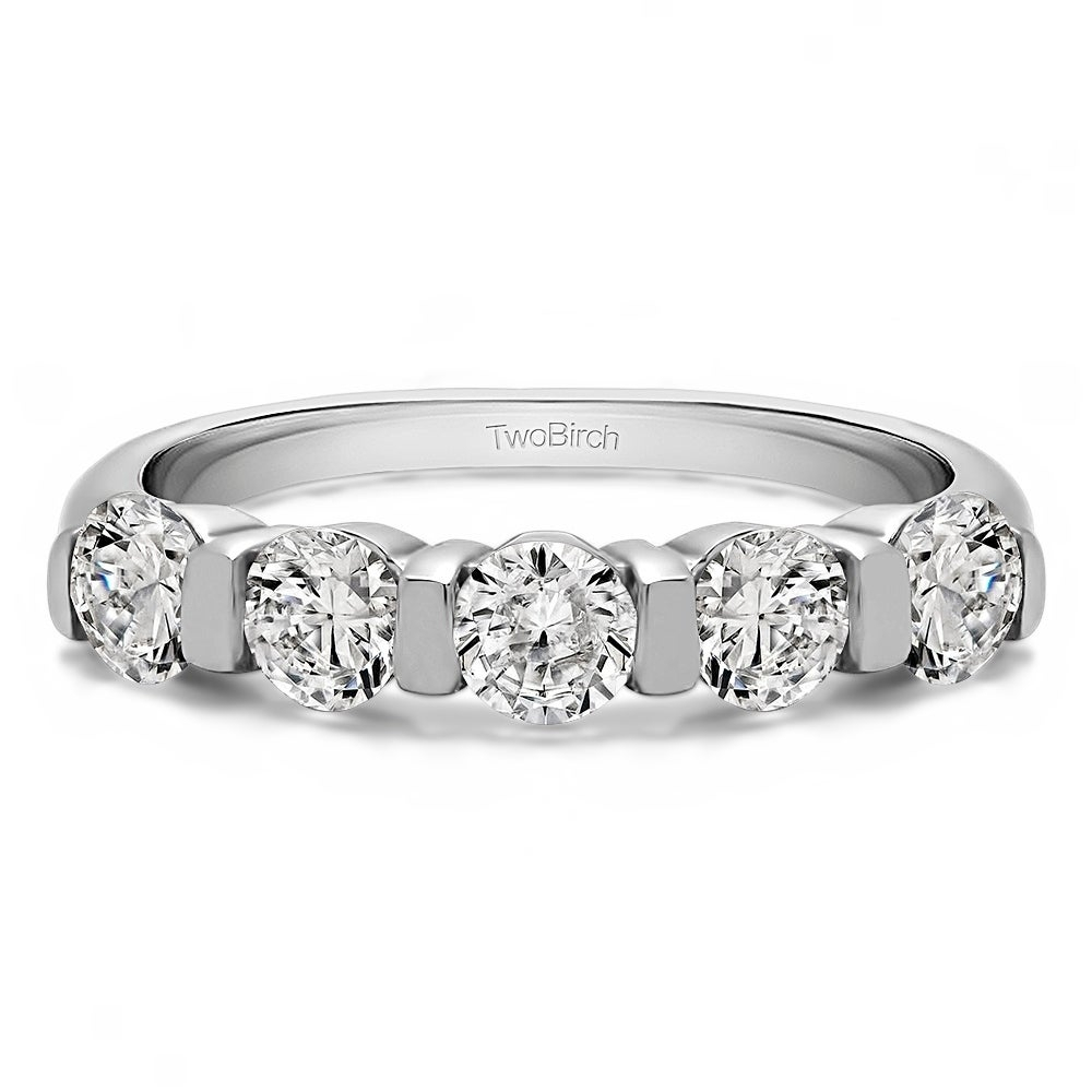 Featured Photo of Diamond Five Stone Bar Set Anniversary Bands In White Gold