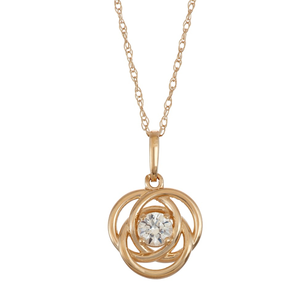 10K Gold Lab Created White Sapphire Knot Pendant Necklace | Products With Regard To 2019 Shimmering Knot Pendant Necklaces (Gallery 17 of 25)
