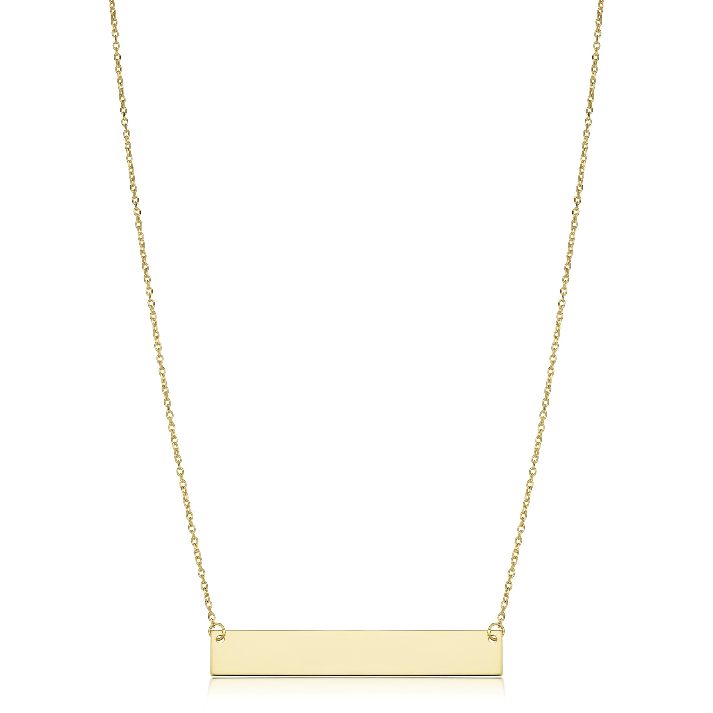 10k Or 14k Gold Engraveable Bar Cable Chain Necklace (18 Inch) Throughout Most Current Classic Cable Chain Necklaces (View 3 of 25)