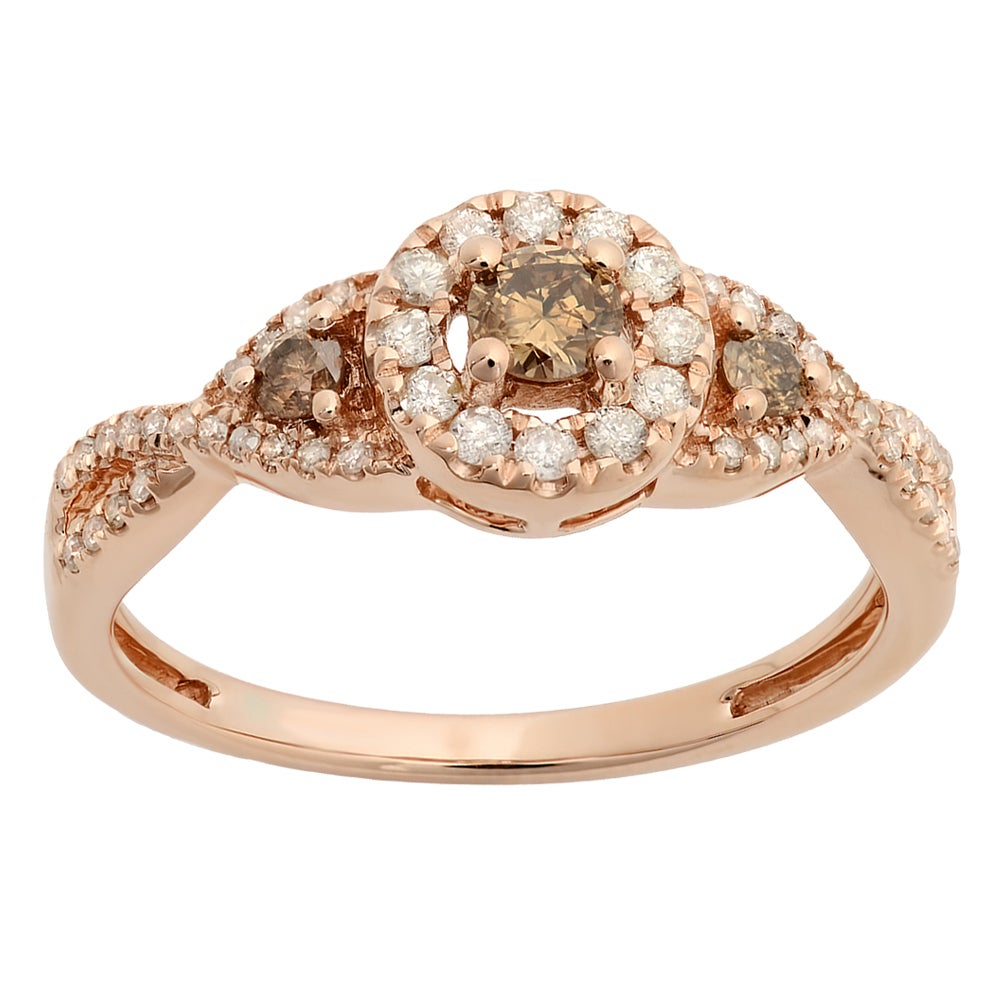 10k Rose Gold 1/2ct Tw Round Champagne And White Diamond 3 Stone Swirl Halo Engagement Ring Intended For Best And Newest Champagne And White Diamond Swirled Anniversary Bands In Rose Gold (View 4 of 25)