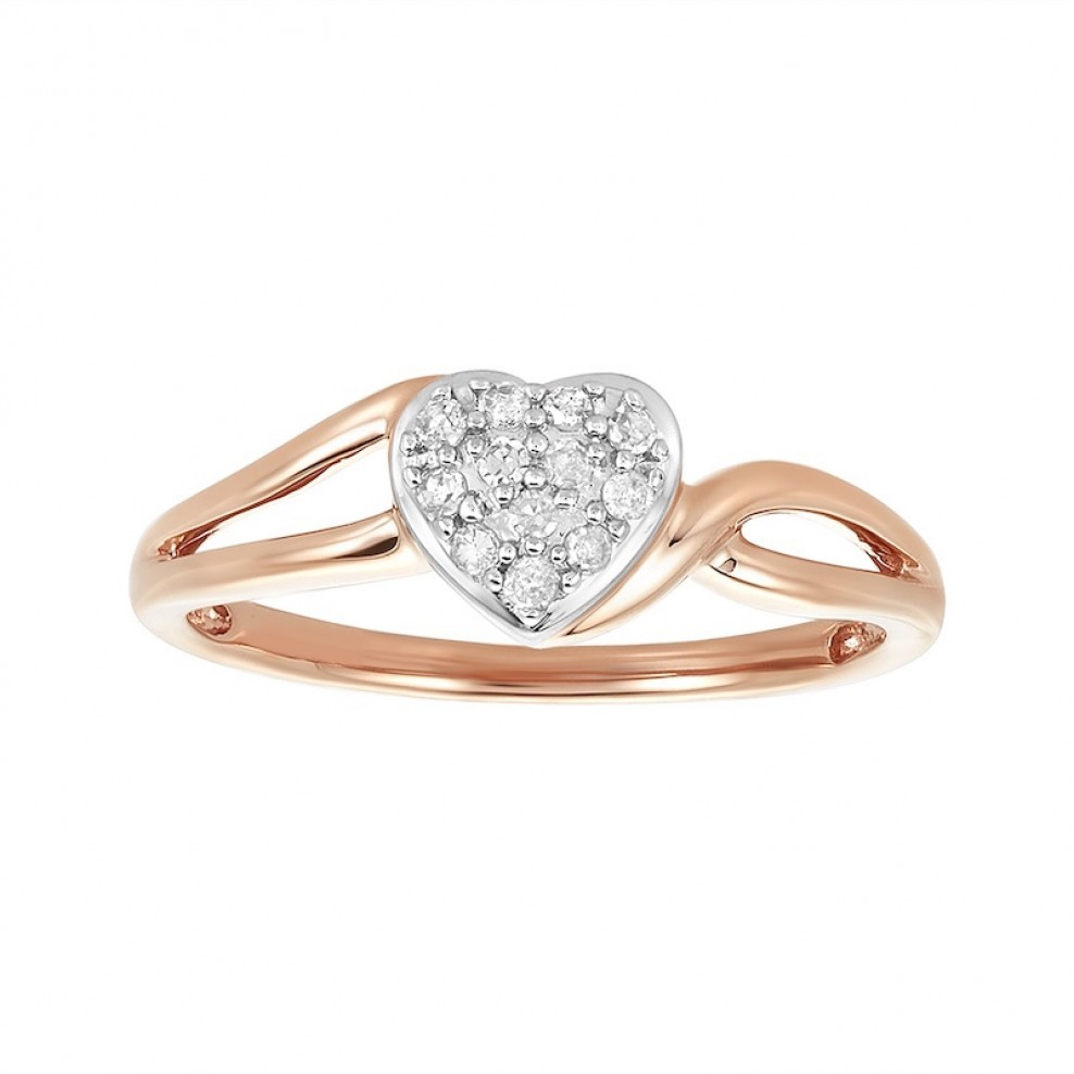 10K Rose Gold Puffy Heart Diamond Pavé Ring With Regard To 2017 Pavé Hearts Band Rings (Gallery 6 of 25)