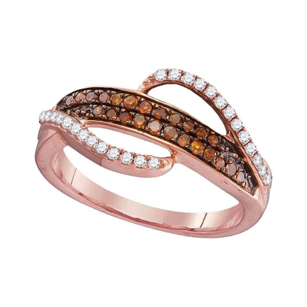10k Rose Gold Women's Red Diamond Swirl Strand Ring – Free Within Most Recent Champagne And White Diamond Swirled Anniversary Bands In Rose Gold (View 8 of 25)