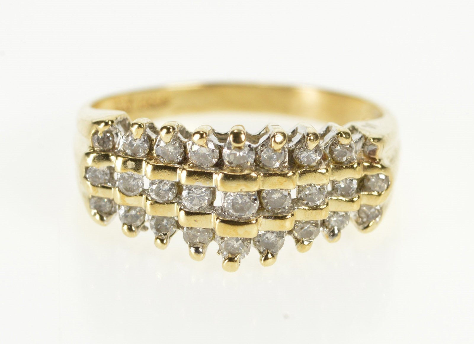 10K Tiered Three Row Diamond Encrusted Band Ring Size  (View 3 of 25)