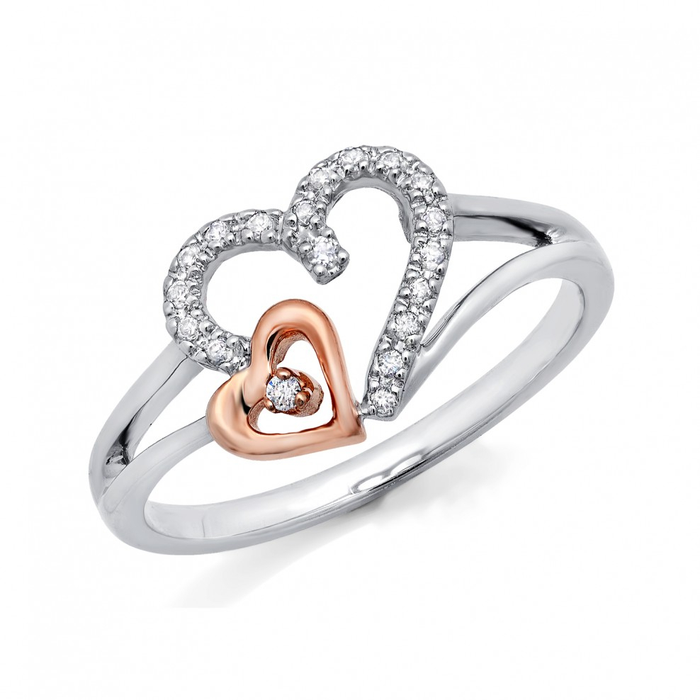 10k Two Tone Gold Double Heart With Diamond Ring Regarding Most Recent Polished Heart Open Rings (View 5 of 25)