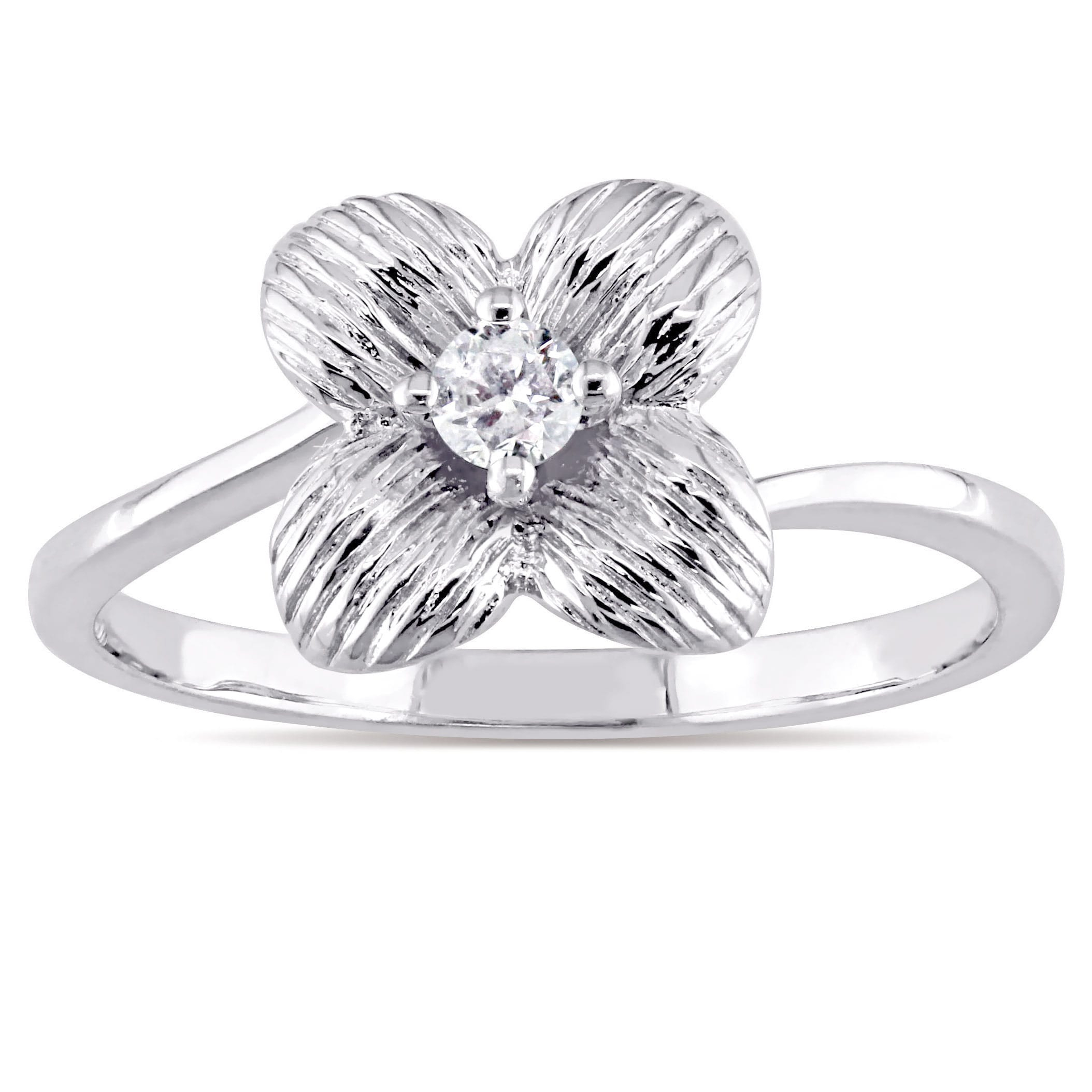 10K White Gold 1/10Ct Tdw Diamond Textured Four Petal Flower Ring Pertaining To Current Four Petal Flower Rings (View 1 of 25)