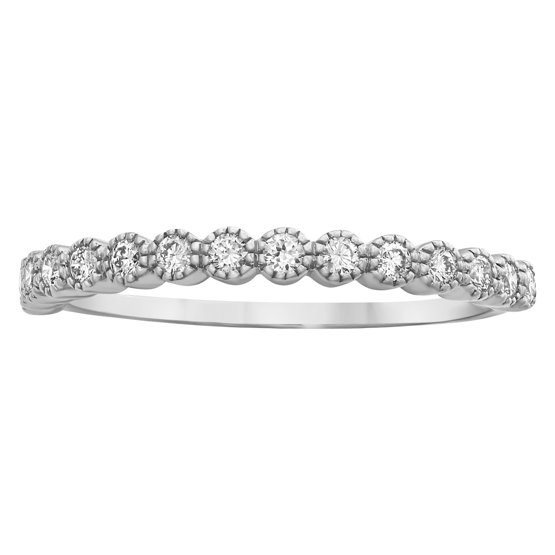 10k White Gold 1/4ct Tdw Diamond Vintage Inspired Anniversary Ring – White H I Intended For Latest Diamond Art Deco Inspired Anniversary Bands In White Gold (View 16 of 25)