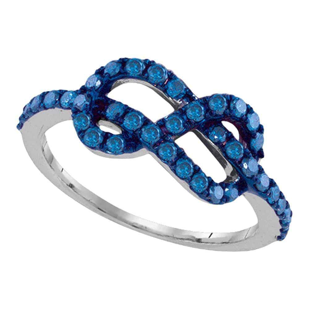10k White Gold Blue Color Enhanced Round Diamond Infinity Woven Love Anniversary Ring 3/4 Cttw Within Current Enhanced Blue And White Diamond Anniversary Bands In White Gold (View 10 of 25)