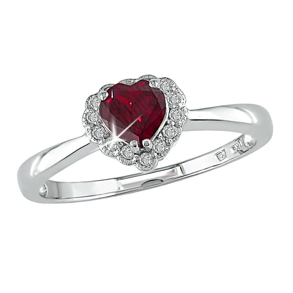 10K White Gold Created Ruby And Diamond Heart Ring Intended For Most Recently Released Sparkling Red Heart Rings (View 1 of 25)