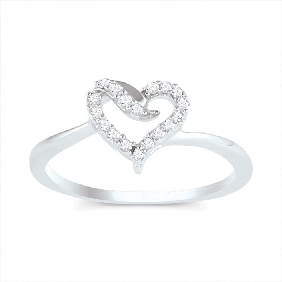 10k White Gold Diamond Heart Promise Ring Intended For Current Polished Heart Open Rings (View 16 of 25)