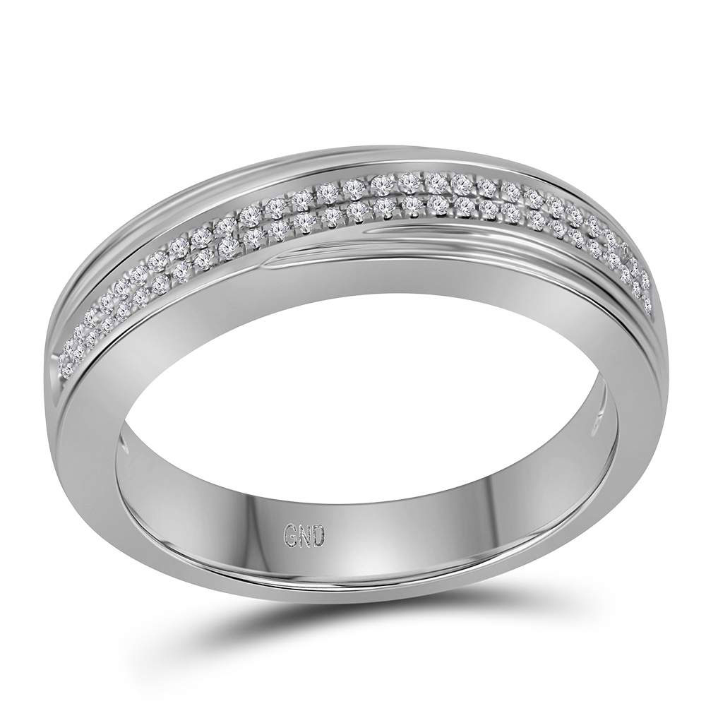 10k White Gold Mens Diamond Double Two Row Wedding Anniversary Band Ring 1/5 Cttw Pertaining To 2019 Diamond Double Row Anniversary Bands In White Gold (View 14 of 25)