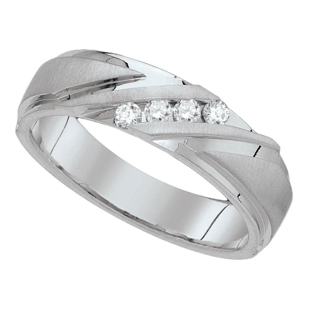 10K White Gold Mens Round Diamond Channel Set Wedding Anniversary Band Ring  1/6 Cttw – Ring Size 7 Ring Size 7 For Best And Newest Diamond Accent Channel Anniversary Bands In White Gold (View 4 of 25)