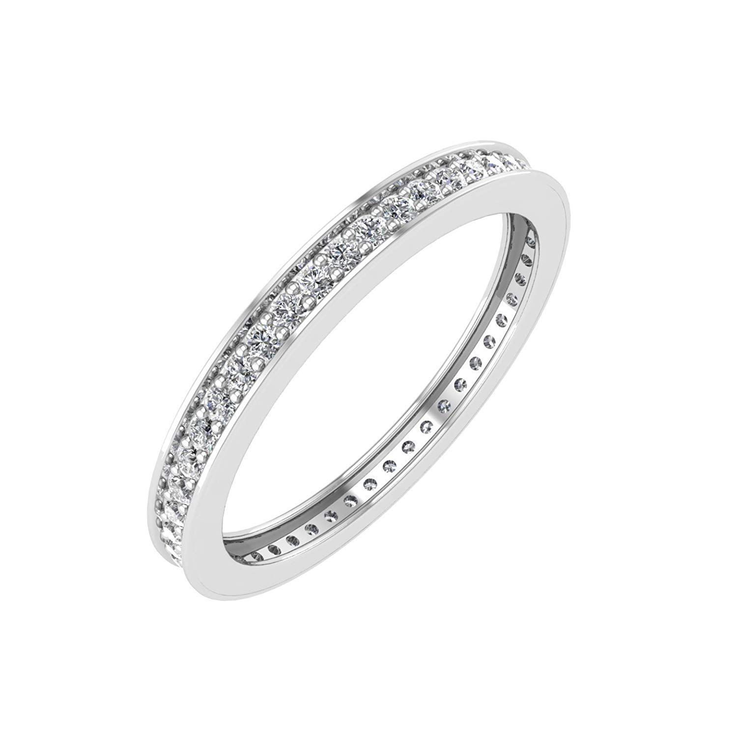 10K White Gold Pave Set Diamond Eternity Wedding/anniversary For Newest Certified Diamond Anniversary Bands In White Gold (View 7 of 25)