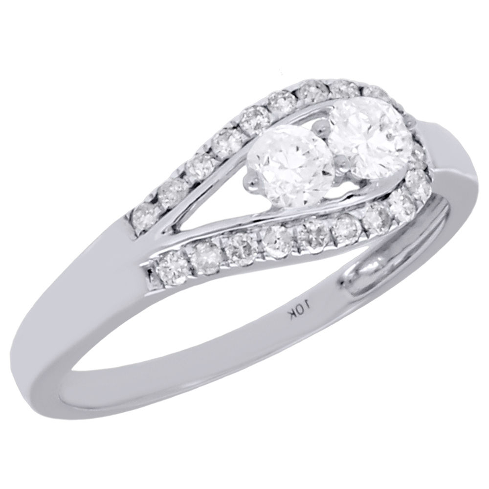 10K White Gold Two Stone Diamond Engagement Ring Love With Regard To Best And Newest Diamond Five Stone Swirl Anniversary Bands In White Gold (View 5 of 25)