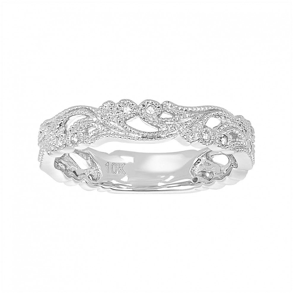 10K White Gold Vine Filigree Wedding Band In Most Up To Date Diamond Contour Anniversary Bands In White Gold (View 2 of 25)