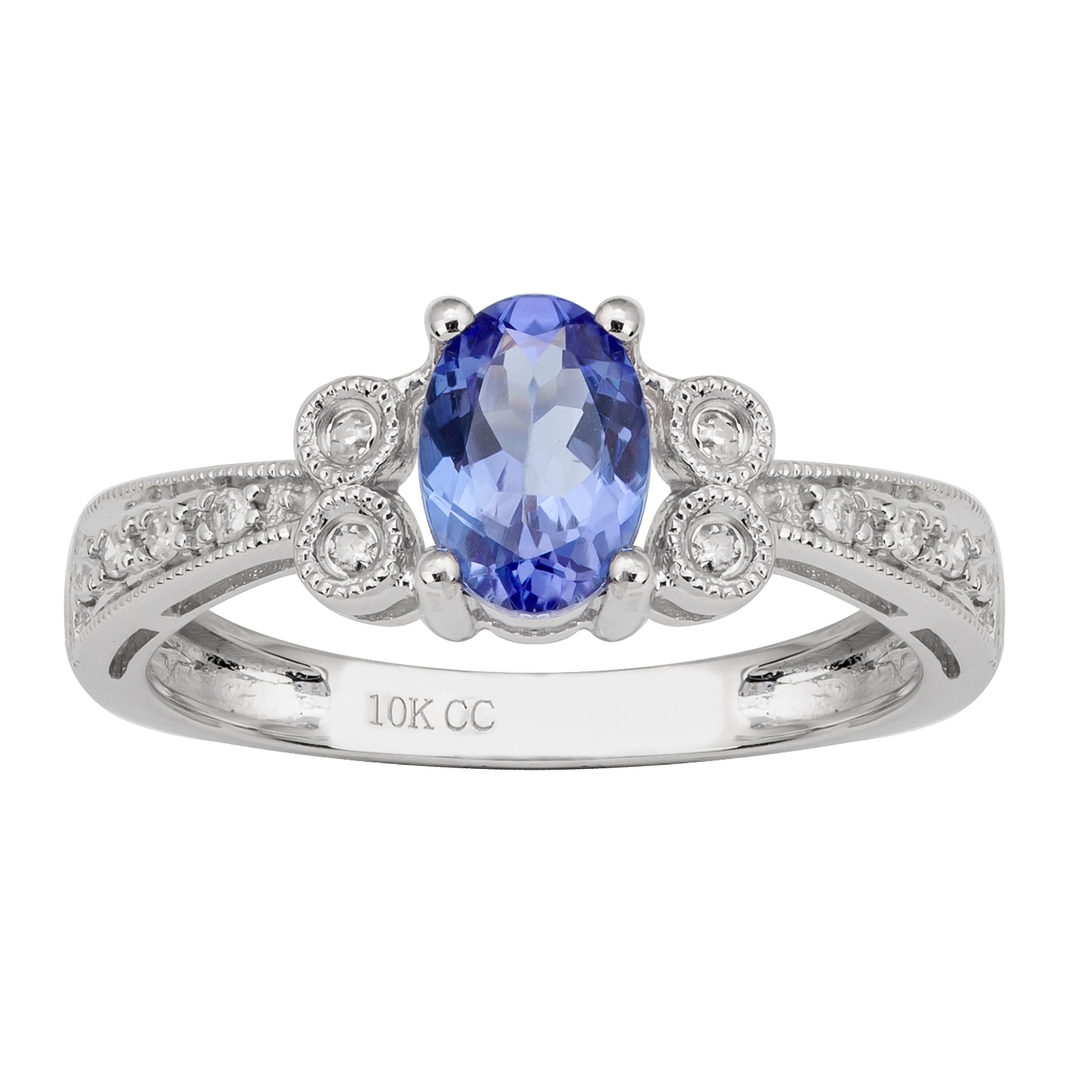 10k White Gold Vintage Style Oval Tanzanite And Diamond Ring Throughout Current Diamond Accent Vintage Style Anniversary Bands In White Gold (View 13 of 25)