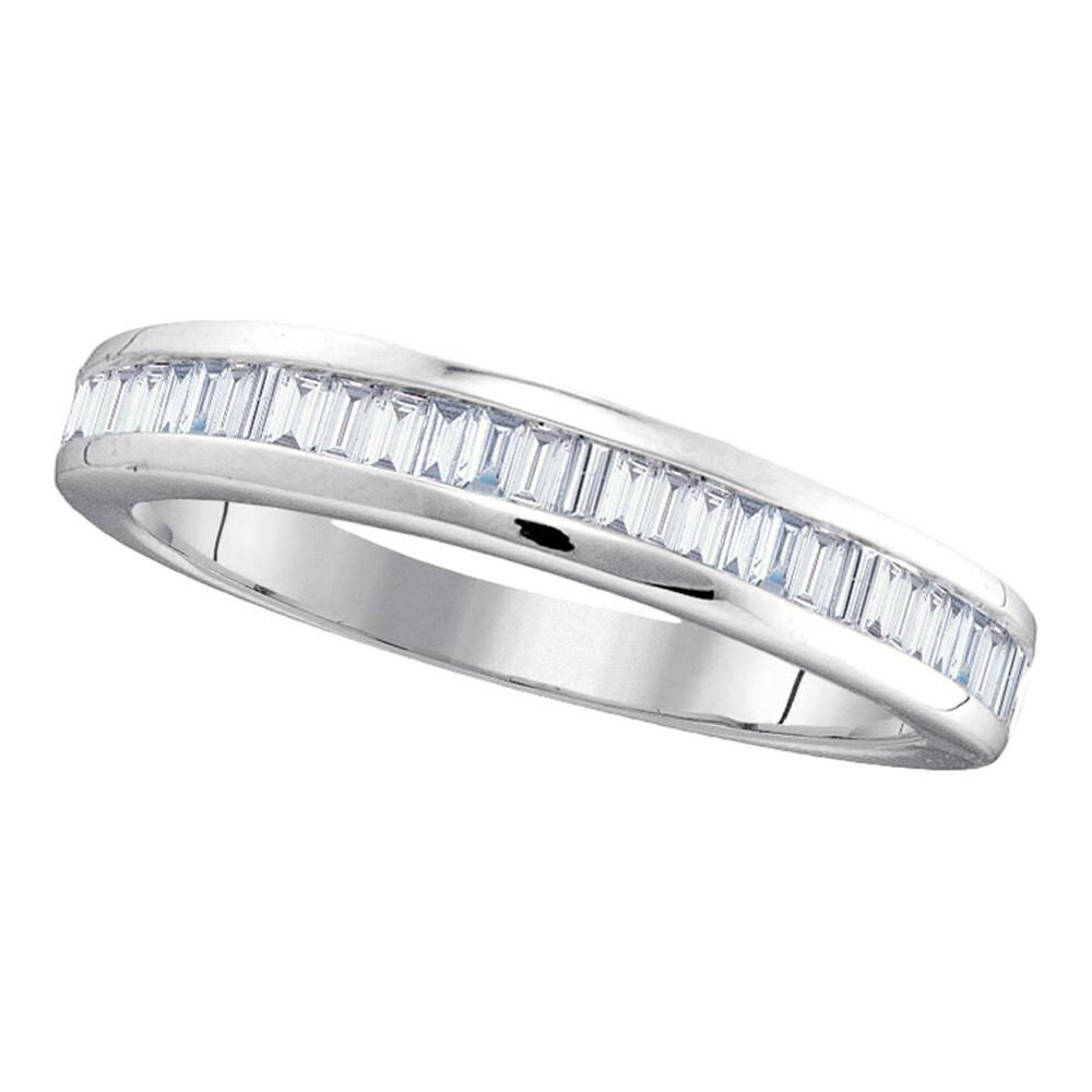 10K White Gold Womens Baguette Diamond Wedding Anniversary Band 1/2 Cttw  5056181061052 | Ebay In Most Recent Baguette Diamond Anniversary Bands In White Gold (View 2 of 25)