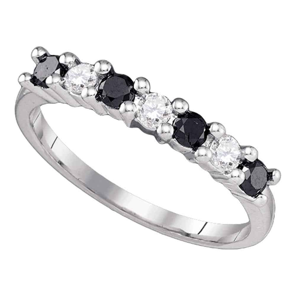 10k White Gold Womens Black Color Enhanced Round Diamond Wedding Anniversary Band 1/2 Cttw Intended For Newest Enhanced Black And White Diamond Anniversary Ring In White Gold (View 3 of 25)