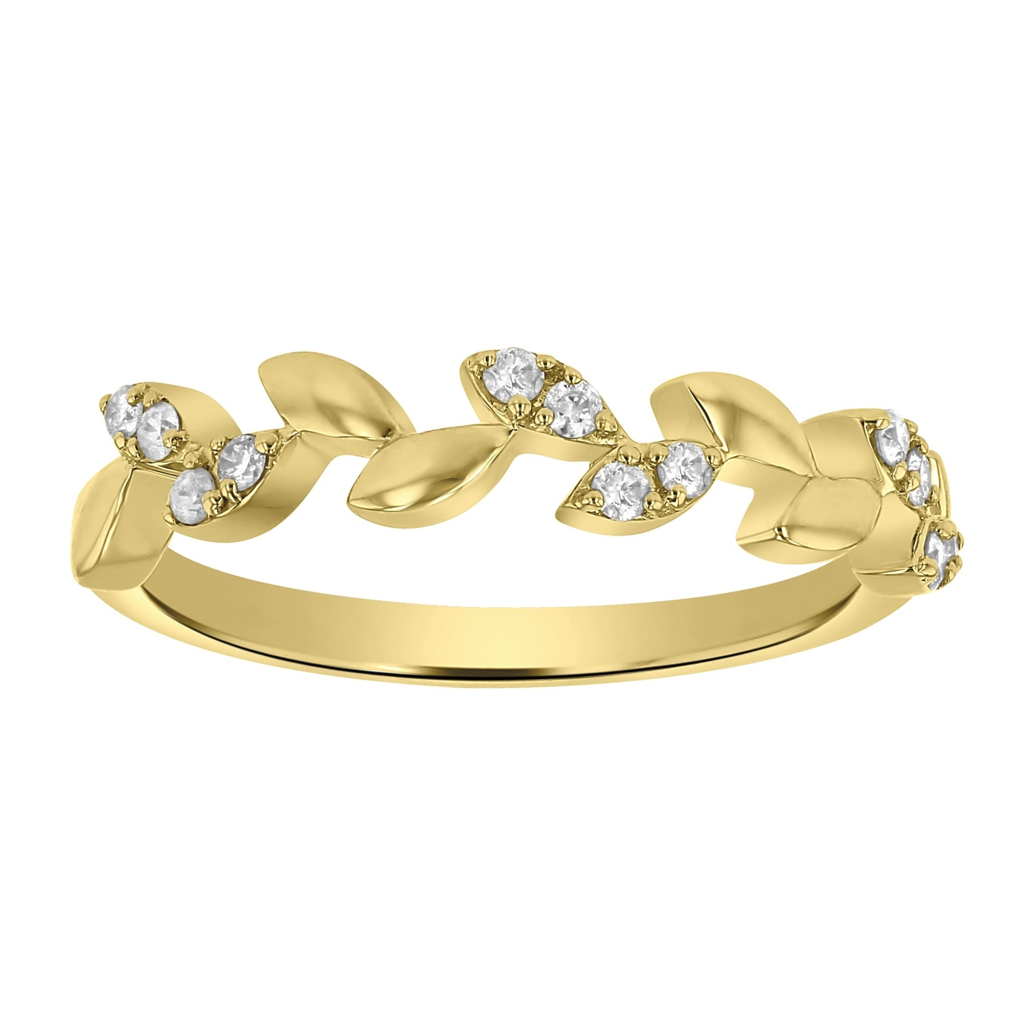10K Yellow Gold 1/8Ct Tdw Diamond Marquise Leaf Vine Wedding Band – White  H I Within Newest Diamond Vine Two Row Anniversary Rings In Two Tone Gold (View 3 of 25)