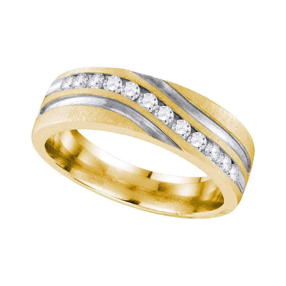 10k Yellow Gold Mens Round Diamond 2 Tone Wedding With Regard To Latest Diamond Slant Anniversary Bands In Gold (View 16 of 25)