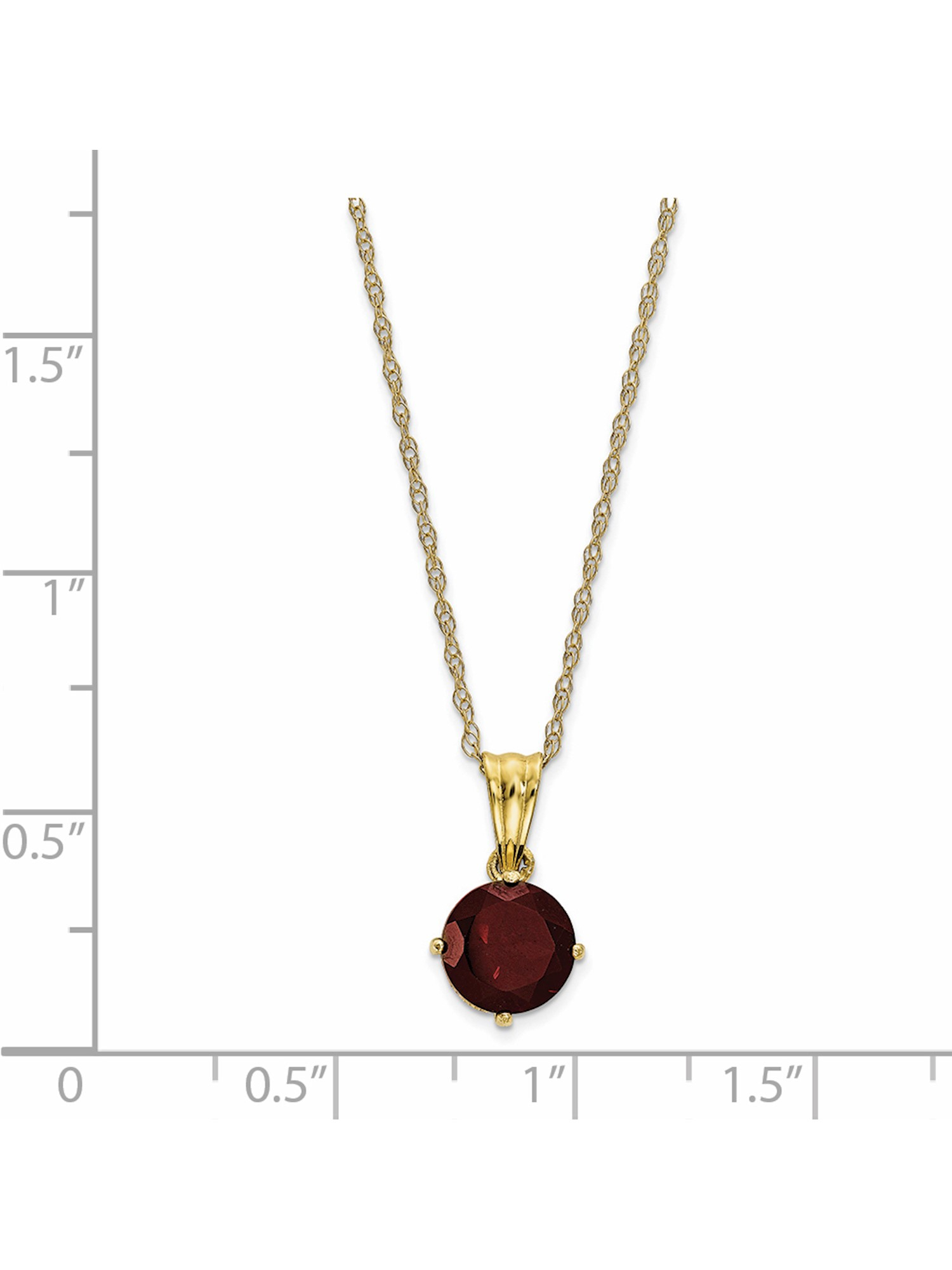 10K Yellow Gold Tiara Collection Polished Diamond Garnet Necklace Inside 2019 Garnet Red January Birthstone Locket Element Necklaces (View 1 of 25)