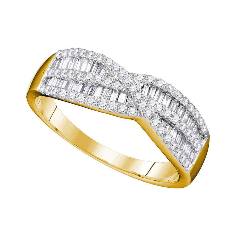10K Yellow Gold Womens Round Baguette Diamond Crossover Band Ring 5/8 Cttw Within Current Round And Baguette Diamond Anniversary Bands In White Gold (View 3 of 25)