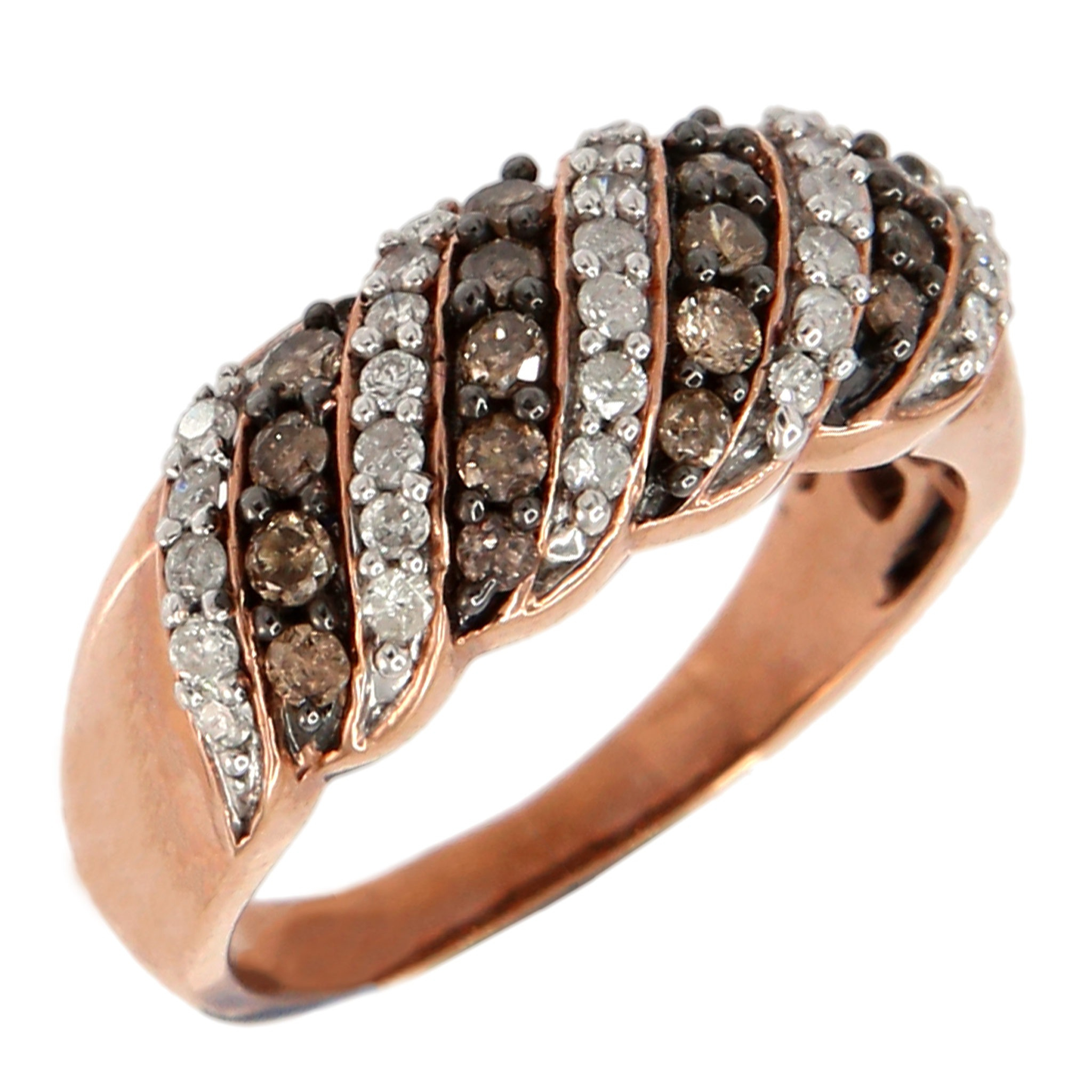 10Kt Rose Gold 1Ctw Champagne And White Diamond Brilliant Round Band Ring Inside Most Current Champagne And White Diamond Swirled Anniversary Bands In Rose Gold (View 6 of 25)
