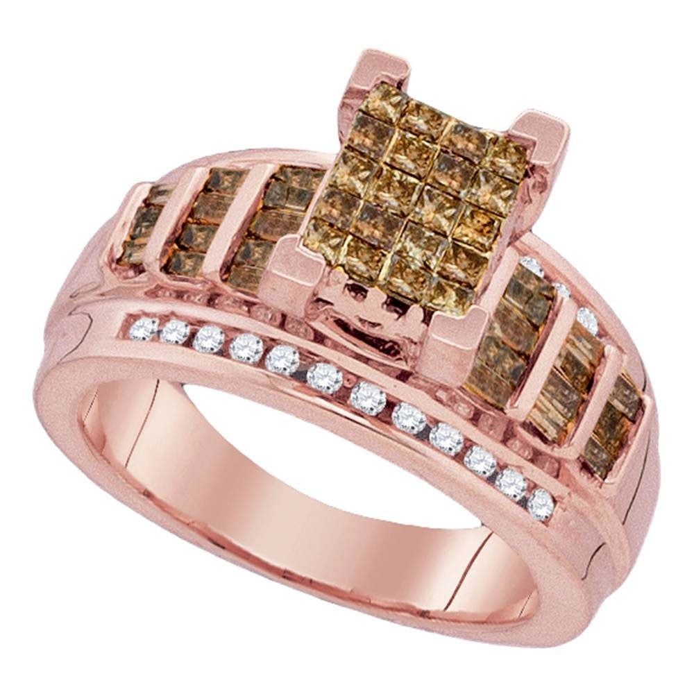 10kt Rose Gold Womens Princess Cognac Brown Color Enhanced Diamond Cluster Bridal Wedding Engagement Ring (View 3 of 25)